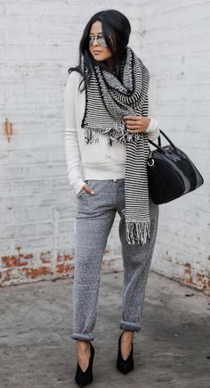 track trousers outfit | walkinwonderland fashion blog | striped scarf | givenchy bag