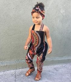 African Ankara Dashiki Print Jumpsuit Outfit - Baby Girl Toddler Kids - sizes - Black Dashiki - Jumpsuits and Romper Baby African Clothes, African Dresses For Kids, African Babies, Latest African Fashion Dresses, African Print Fashion, African Prints, Ankara Fashion, Cute Kids Fashion, Little Girl Fashion