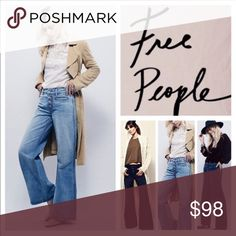 NEW FREE PEOPLE AVENDALE WIDE FLARE LEG JEANS 29 Brand new, super flattering on, button fly, 100% cotton, non smoking house Free People Jeans Flare & Wide Leg