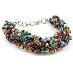 Multicolor Six Strand Braid Beaded Bracelet - Zakali Creations