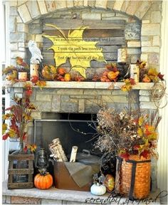 Fall decor — love the fireplace