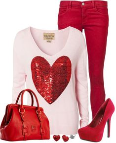look fashion outfit winter red jeans, white sweater with the red heart, red handbag, red shoes Valentine Outfits For Women, Casual Outfits For Girls, Valentines Outfits, Girl Outfits, Cute Outfits, Fashion Outfits, Womens Fashion, Fashion Trends, Fashion Ideas