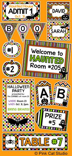 Create fun and cohesive Halloween theme classroom labels, posters and party decorations with this value packed set of editable templates. The only limit is your imagination for what you can make to decorate your room. This value packed set includes 84 pages of full color template designs that can be used for posters, signs, bunting, invitations, table signs, game labels, stickers, binder covers, certificates and anything else you can think of!