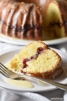 This cranberry orange pound cake is rich and buttery, with a layer of cranberry sauce inside, and a bright orange glaze. Perfect for the holidays!