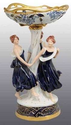 Royal Dux ~ Porcelain Compote ~ Depicting three dancing ladies ~ Pierced bowl ~ with Cobalt & Gilt decorated. Czechoslovakia ~ circa 1901-1950