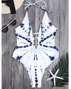 79e5de1dae913 Sunygal Tie-dyed Halter One-Piece Swimsuit. Plunging Neck High Cut ...
