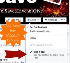 """See more Mission to Save (and your other faves) in your Facebook News Feed.  Check out my video on the new controls and how to set preferences. """"See First""""!"""