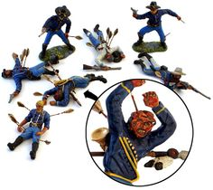 The Michigan Toy Soldier Blog: Figure of The Week. Sure, TSSD's US Cavalry Dismounted Casualties (from the bagged sets #17) have a certain charm of implied carnage, but in the hands of a true master the gore comes to life, as it were. These 1/32 scale plastic figures are painted and embellished by artist Compton Creell. Creepy cool and our figure of the week.