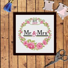 Custom Wedding cross stitch pattern PDF Bridal Shower gift