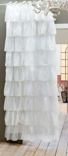 #curtain #natural #cotton #frills #volantes #150x285 #blancmariclo #cortinasymas Fru Fru, Shabby Chic Decor, One Shoulder Wedding Dress, Romantic, Curtains, Rustic, Wedding Dresses, White Cotton, French