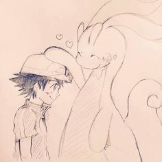 Ash Ketchum and his Goodra ^.^ ♡ I give good credit to whoever made this