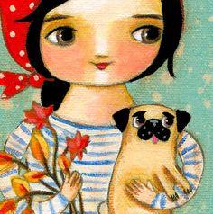 ORIGINAL Autumn PUG dog folk art painting Babushka girl by tascha