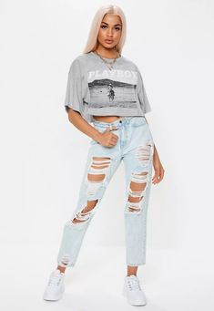 Playboy x Missguided Gray Cow Girl Graphic Crop T Shirt | Missguided