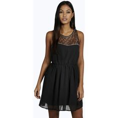 Boohoo Boutique Boutique Ava Embellished Top Skater Prom Dress ($44) ❤ liked on Polyvore featuring dresses, black, black dress, black sequin dress, sequin party dresses, black party dresses and black bodycon dress