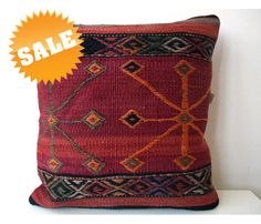 Anatolian Rug Pillow Cover kilim by mothersatelier on Etsy, $89.00