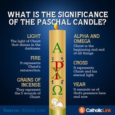 During the Easter Vigil, the priest lights the Paschal Candle️ which reminds us that Christ has defeated darkness with his Resurrection. Check out t... - Catholic Link - Google+