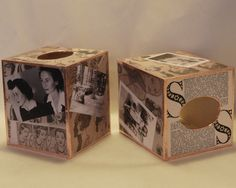 Tissue boxes decoupaged with old photos and book pages