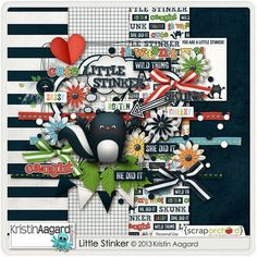 """Little Stinker is a cute and whimsical digital scrapbook kit by Kristin Aagard. Little Stinker includes a variety of elements and papers to create fun """"little stinker"""" and skunk themed scrapbook pages and projects. Scrapbook Kit, Digital Scrapbook Paper, Scrapbook Pages, Scrapbooking Layouts, Craft Fairs, Whimsical, Holiday Decor, Mini, Projects"""