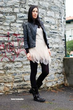 love the leather jacket and boots with the soft pink tule dress