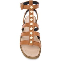 Balenciaga Studded Leather Gladiator Sandals ($795) ❤ liked on Polyvore featuring shoes, sandals, cognac sandals, greek sandals, balenciaga, roman sandals and gladiator sandals