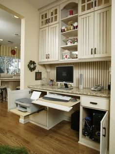 Contemporary Clever Ideas To Design A Functional Office In Your Kitchen With Wooden Floor Wooden Cabinet White lamp Computer Desk Painting