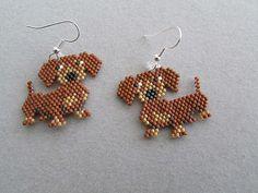 Dachshund  Earrings in Delica seed beads by DsBeadedCrochetedEtc, $16.00