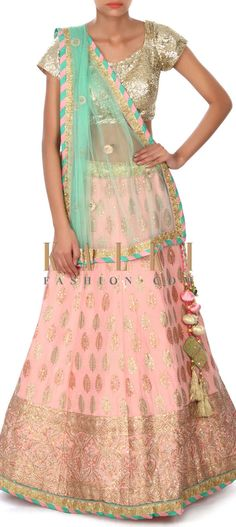 Buy this Pink lehenga adorn in foil print and zari only on Kalki