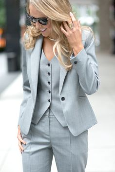 2017 Pantalones Mujer Women Full Cotton Button Fly Ladies Custom Made Office Business Suits Jacket+pants+vest New Hot Tuxedos Zoot Suits, Women's Suits, Tailored Suits, Trouser Suits, Three Piece Suit, 3 Piece Suits, Terno Casual, Classy Cubicle, Style Work