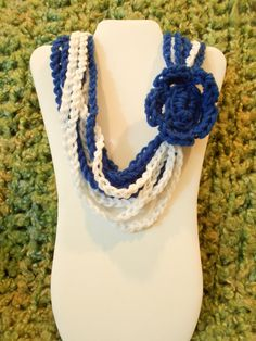 color Dodgers // Girls Crochet Multichain Blue and white flower scarf necklace by IsabellaWesley