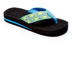 4e8b2ff91b7d1c Tidewater Sandals Black   Green Pineapple Flip-Flop ( 13) ❤ liked on  Polyvore featuring shoes