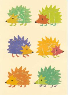 """""""Happy Hedgehogs"""" by Sarah Battle, 2006, published by The Art Group, www.artgroup.com"""