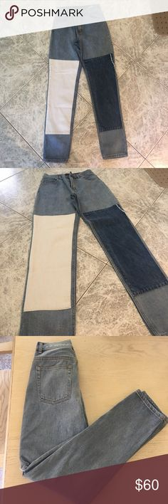 Brandy Melville Patch Jeans Brandy Melville Jeans featuring a white and dark denim patch on the left and right leg. NEVER worn before. Super stylish, I just unfortunately ordered the wrong size. Size Small. Brandy Melville Jeans Straight Leg