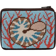 Shell and Coral Needlepoint Coin Purse-- Stitch & Zip. Made in USA. Stitch & ZipTM Preassembled Coin/Credit Card cases are available in several designs, such as floral, nautical, animals, whimsical and many more. | eBay!