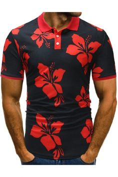 New Polo Mens Summer 2018 Men Polo Shirt Casual Floral Polos Homme Male Printed Short sleeve Camisa Polo Shirt Tops For men Camisa Polo, Short Sleeve Cardigan, Shirt Sleeves, Dress Code Casual, Mens Designer Shirts, Printed Polo Shirts, Slim Fit Polo, Floral Print Shirt, Summer Tshirts