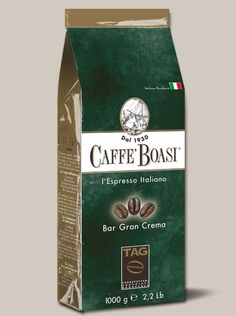 Caffè Boasi Gran Crema - Coffee with an intense flavor and with a velvety cream for a rich flavor and firm. It derives from the 'Arabian' the best Brazilian and Central American regions and selected 'Robusta', a balanced coffee with a strong character with a strong personality. Aromatic and full-bodied with a persisten after taste. - IN BEANS PACKAGES: 1000 gr