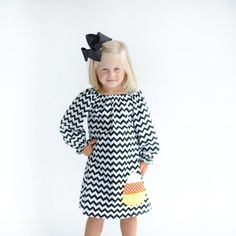 Black Chevron Long Sleeve Debbie Dress w/ Candy Corn Applique
