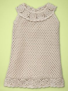 Crochet baby gap dress - like the floral yoke and bottom embellishment....would use a different stitch for the body though!