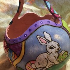 A perfect bunny Easter gourd basket :) one of a kind :)