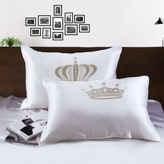 Printed Silk Pillowcases For Couple on Sale