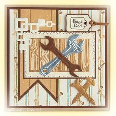 Uit de nieuwsbrief van Leane Creatief stansmal 45.9593 Tools Masculine Birthday Cards, Masculine Cards, Spellbinders Cards, Marianne Design, Best Dad, Fathers Day, Paper Crafts, Letters, Frame
