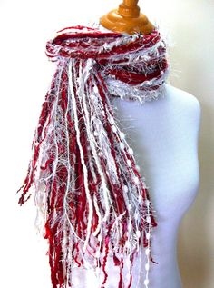 Skinny Fringy Multi Fiber Scarf Valentines Hues of Red by Fanchi, $20.00