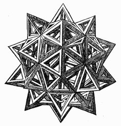 Leonardo da Vinci's Polyhedra - elevated icosidodecahedron woodcut from Luca Pacioli's 1509 book The Divine Proportion