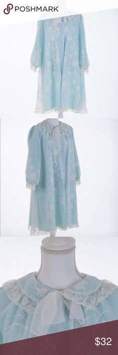 """🌸5 for $25🌸vintage 50s I.MAGNIN & co peignoir Vintage 1950s light blue floral & lace peignoir with pretty bow at neckline by Odette Barsa for I.MAGNIN & co.   •true vintage  •hand-wash only  •good vintage condition: one small stain & missing snap button at top   measurements & size  •no size marked  •fits a MED  •bust 46"""" •length 38.5"""" •sleeve length 22""""  •shoulder seam 2 seam 16.5""""   🌈 All orders ship with 1-2 business days. No trades or holds. All photos are original and the exact item…"""