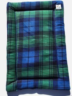 Green Plaid Dog Bed, Blue Crate Pad, Puppy Bedding, Couch Cover, Fleece Pet Pad, Large Dog Bed, Fleece Crate Mat, Pet Travel Items, Dog Gift #DogItems #FleecePetBed #DogCratePad #LargeDogBed #LargeDogBeds #PlaidDogBed #LargeCratePad #ComfyPetPads #FleecePetPad #FleeceCrateMat