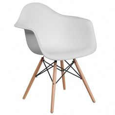 Flash Furniture Alonza Series White Plastic Chair with Wood Base White Plastic Chairs, Plastic Dining Chairs, Modern Dining Chairs, Dining Chair Set, Eames Dining, Ikea Dining, Eames Chairs, Colorful Chairs, Cool Chairs