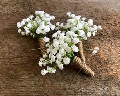 Perfect for your farmhouse wedding, our babys breath boutonniere embellished twine. Neutral white flowers works with any style of wedding design. These are sold individually. See more BOUTONNIERES & CORSAGES here: Simple Wedding Bouquets, Blue Wedding Flowers, Flower Bouquet Wedding, Simple Weddings, Floral Wedding, Fall Wedding, White Flowers, Rustic Weddings, Babysbreath Bouquet