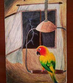 Aratinga solstitialis/Sun conure/Cotorra solar 🐥☀️ Uno de mis loros favoritos One of my favorite parrots #drawing #dibujo #art #prismacolor… Conure, Parrots, China, Sun, Bird, Instagram, Animals, Rare Birds, Draw