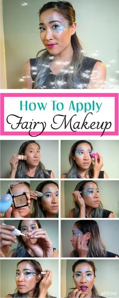 Simple to do yourself fairy makeup! Perfect for any fairy costume (or even fun festival design), you can transform yourself with these fun, shimmery tips and products. Fairy Costume Kids, Halloween Fairy, Halloween Makeup, Halloween Costumes, Fairy Costumes, Kids Makeup, Makeup Man, Makeup Ideas, Fairy Makeup