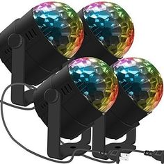 Magic Ball Party Lighting Changing Sound Auto Rotating Disco Xmas Wedding 4 Pack for sale online