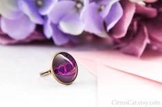Rings Rings Rings — Ecstasy molecule purple ring, chemistry jewelry,...